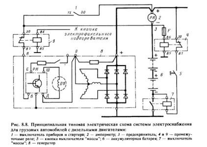 Принципиальная типовая электросхема грузового дизельного автомобиля