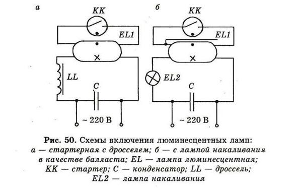 Схема включения люминисцентной лампы