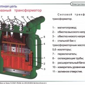 Силовой трехфазный трансформатор