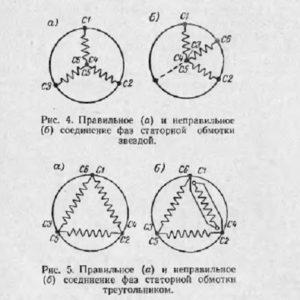 Правильное и неправильное соединение фаз статорной обомотки